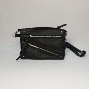 Black faux leather zipper biker cross body bag